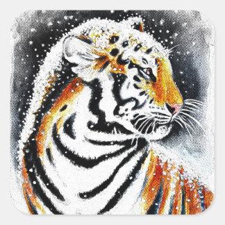 Sticker Carré Tigre dans la neige noir