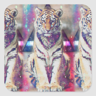 Sticker Carré Tigre de hippie - art de tigre - tigre de triangle