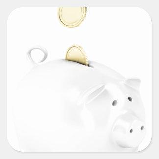 Sticker Carré Tirelire avec les pièces de monnaie d'or