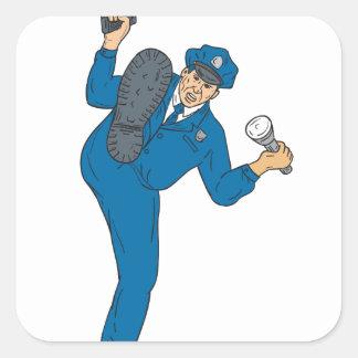 Sticker Carré Torche de lampe-torche d'arme à feu de policier
