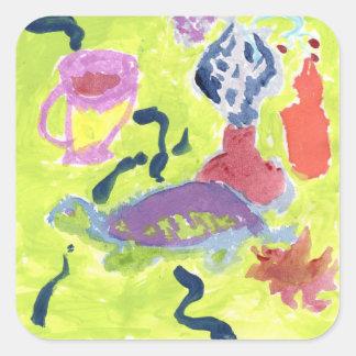 Sticker Carré Tortue avec une tasse d'autocollants de thé