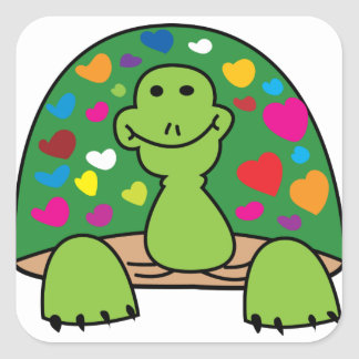 Sticker Carré tortue de coeurs