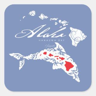 Sticker Carré Tortue de mer verte d'Hawaï
