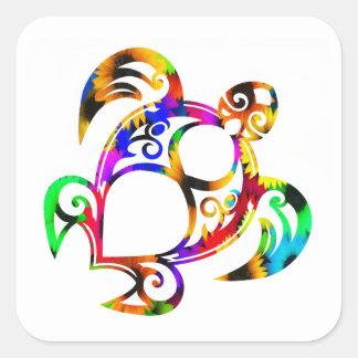 Sticker Carré Tortue hippie