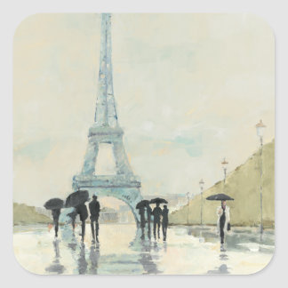 Sticker Carré Tour Eiffel | Paris sous la pluie