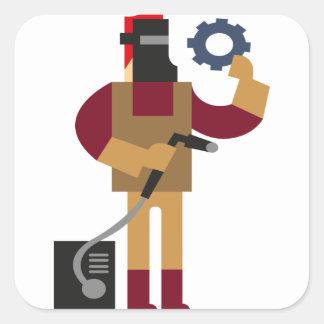 Sticker Carré Travailleur en métal