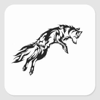 Sticker Carré Tribal wolf