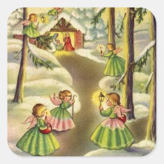 Sticker Carré Trois peu d'anges vintages de Noël