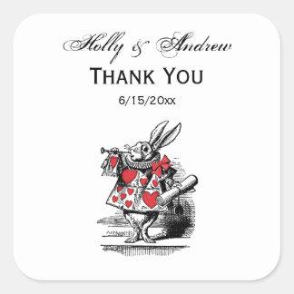 Sticker Carré Trompettiste blanc Alice de cour de lapin au pays
