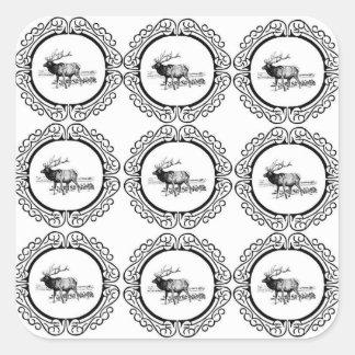 Sticker Carré troupeau d'élans dans le groupe