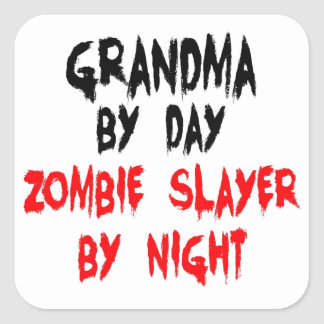 Sticker Carré Tueur de zombi de grand-maman