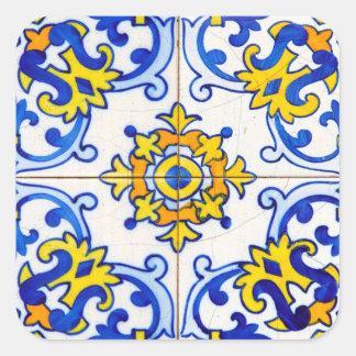 Sticker Carré Tuile d'art d'Azulejo