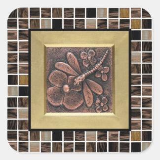 Sticker Carré Tuiles en verre de cuivre