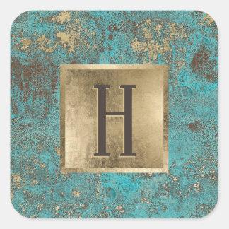 Sticker Carré Turquoise d'or de monogramme et cuivre de cru de