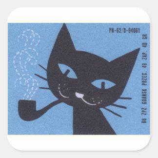 Sticker Carré Tuyau de tabagisme polonais de chat d'étiquette de