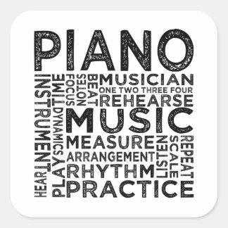 Sticker Carré Typographie de piano