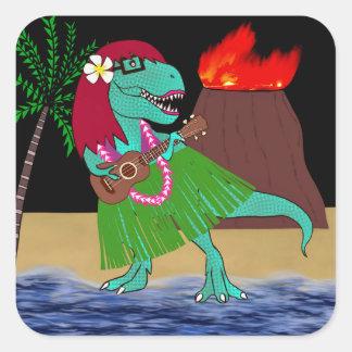Sticker Carré Ukulélé hawaïenne de dinosaure
