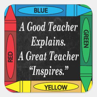 Sticker Carré Un grand professeur inspire