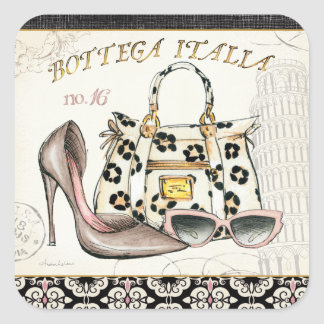 Sticker Carré Une chaussure, un sac, et une paire de verres