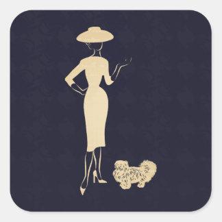 Sticker Carré Une mode vintage des années 1950 de nouveau look