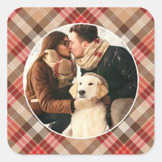 Sticker Carré Vacances de plaid de tartan du cadre | de photo de