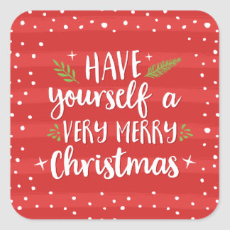 Sticker Carré Vacances de rayures de rouge du Noël très Joyeux |