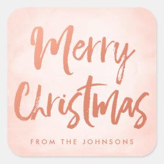 Sticker Carré Vacances personnalisées balayées de Joyeux Noël