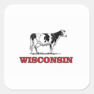 Sticker Carré vache rouge au Wisconsin