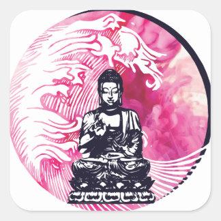 Sticker Carré Vague de Bouddha d'ouragan