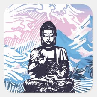 Sticker Carré Vague de montagne tropicale de Bouddha