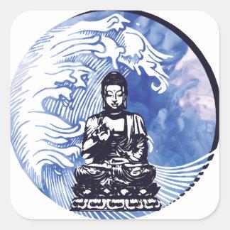 Sticker Carré Vague d'eau profonde de Bouddha