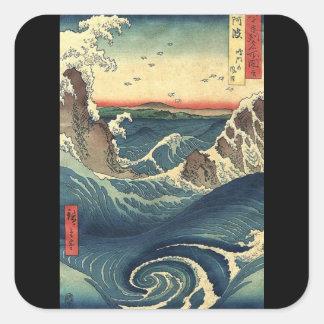 Sticker Carré vague d'Ukiyo-e de Japonais de paysage d'océan