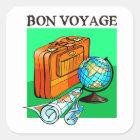 Sticker Carré Valise, bagage, carte et globe : Voyage de fève !