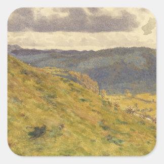 Sticker Carré Vallée du Teme par matin ensoleillé de novembre