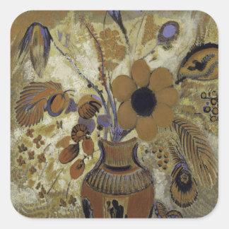 Sticker Carré Vase à Etruscan avec des fleurs