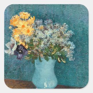 Sticker Carré Vase à Vincent van Gogh | de fleurs, 1887