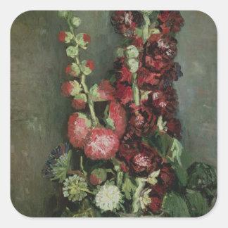 Sticker Carré Vase à Vincent van Gogh | de roses trémière, 1886