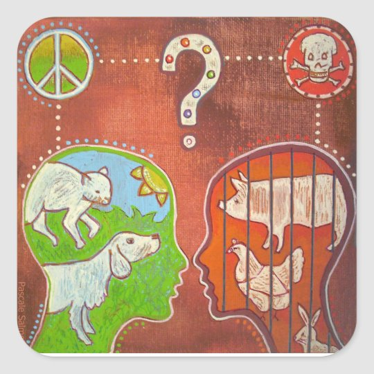 Sticker Carré Vegan anti speciesism