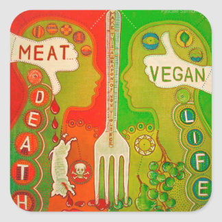 Sticker Carré Vegan fork life