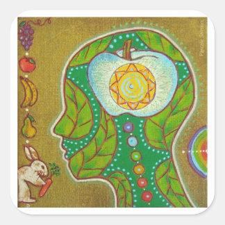 Sticker Carré Vegan meditation
