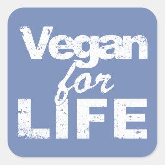Sticker Carré Végétalien pendant la VIE (blanche)