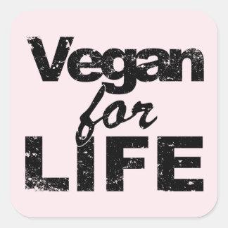 Sticker Carré Végétalien pendant la VIE (noir)