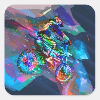 Sticker Carré Vélo de saleté coloré par crayon superbe incliné