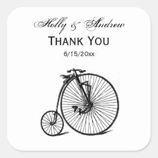 Sticker Carré Vélo vintage de bicyclette de vélo sur rail
