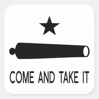 Sticker Carré Venez il falloir le ~ le Texas de drapeau