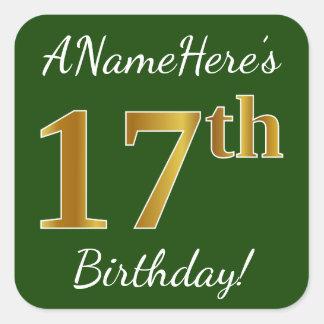Sticker Carré Vert, anniversaire d'or de Faux 17ème + Nom fait