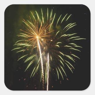 Sticker Carré Vert et célébration de vacances de feux d'artifice