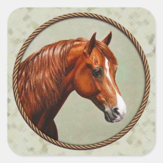 Sticker Carré Vert sauge de cheval de Morgan de châtaigne