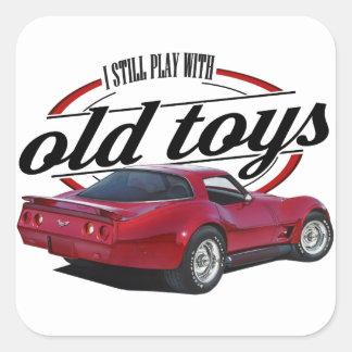 Sticker Carré vette fait sur commande rouge de vieux jouets