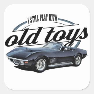 Sticker Carré vette noir de vieux jouets